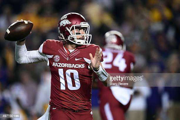 Brandon Allen of the Arkansas Razorbacks looks to pass during the first quarter of a game against the LSU Tigers at Tiger Stadium on November 14 2015...