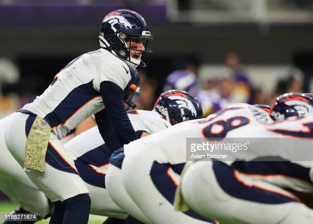 Brandon Allen of the Denver Broncos at US Bank Stadium on November 17 2019 in Minneapolis Minnesota