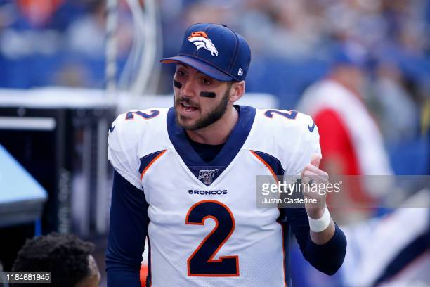 Brandon Allen of the Denver Broncos on the sidelines in the game against the Indianapolis Colts at Lucas Oil Stadium on October 27 2019 in...