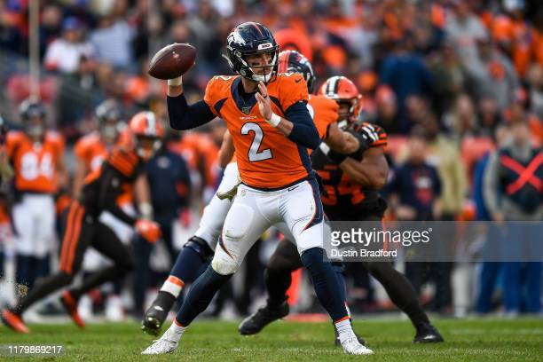 Brandon Allen of the Denver Broncos passes against the Cleveland Browns in the second quarter of a game at Empower Field at Mile High on November 3...