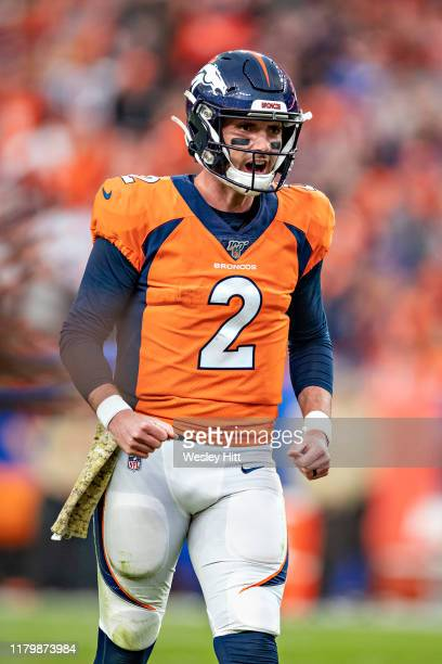 Brandon Allen of the Denver Broncos reacts after a touchdown during the second half of a game against the Cleveland Browns at Broncos Stadium at Mile...