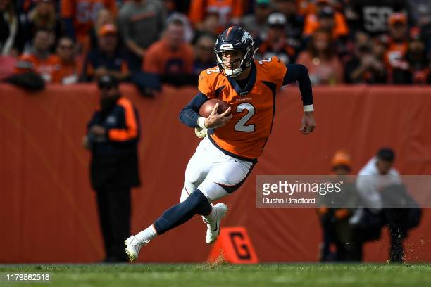 Brandon Allen of the Denver Broncos scrambles against the Cleveland Browns in the first quarter of a game at Empower Field at Mile High on November 3...