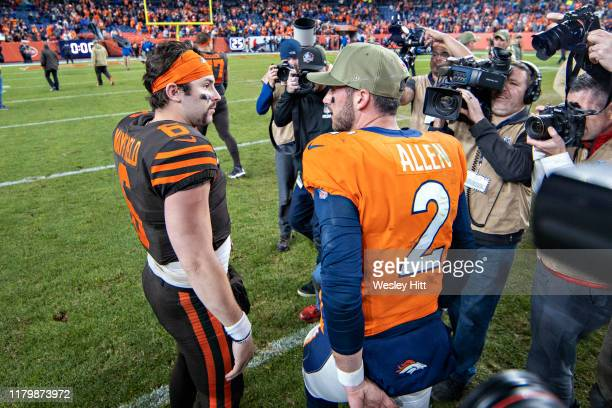 Brandon Allen of the Denver Broncos talks after the game with Baker Mayfield of the Cleveland Browns at Broncos Stadium at Mile High on November 3...
