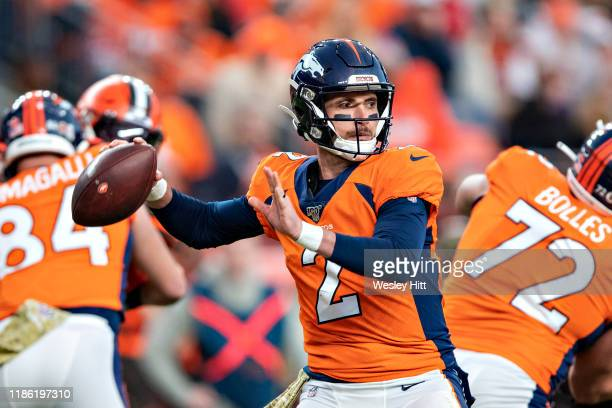 Brandon Allen of the Denver Broncos throws a pass during a game against the Cleveland Browns at Broncos Stadium at Mile High on November 3 2019 in...