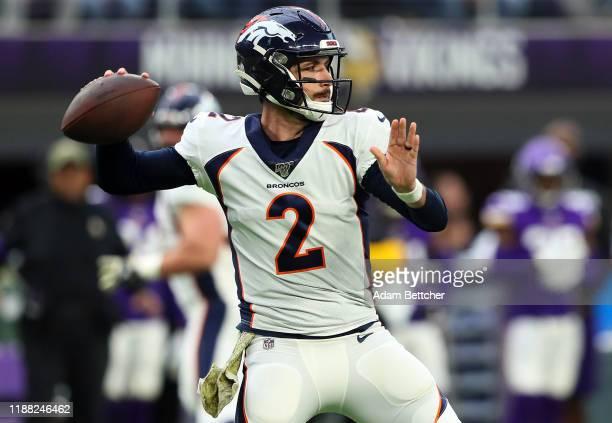 Brandon Allen of the Denver Broncos throws against the Minnesota Vikings at US Bank Stadium on November 17 2019 in Minneapolis Minnesota
