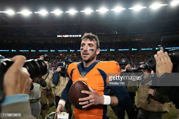 Brandon Allen of the Denver Broncos walks off the field after a game against the Cleveland Browns at Broncos Stadium at Mile High on November 3 2019...