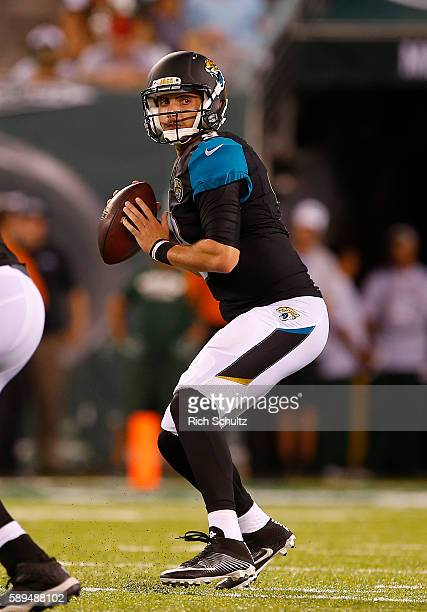 Brandon Allen of the Jacksonville Jaguars in action against the New York Jets in an NFL preseason game at MetLife Stadium on August 11 2016 in East...