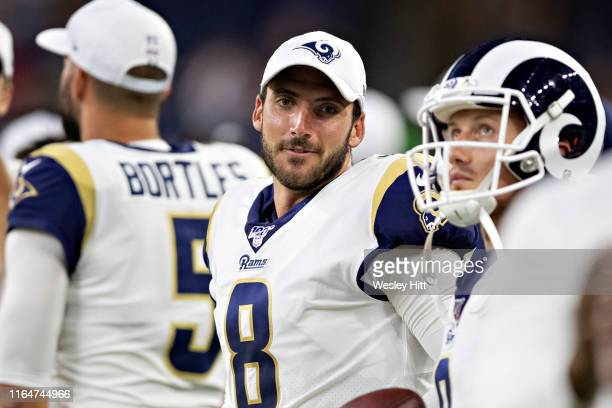 Brandon Allen of the Los Angeles Rams looks on during a game against the Houston Texans during week four of the preseason at NRG Stadium on August 29...