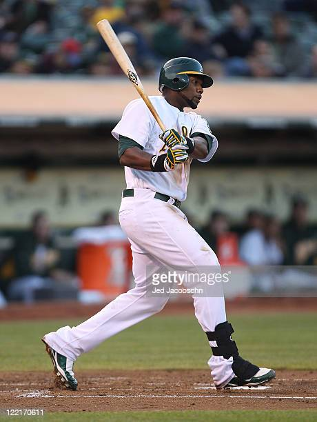 Brandon Allen of the Oakland Athletics bats against the Toronto Blue Jays at Oco Coliseum on August 18 2011 in Oakland California