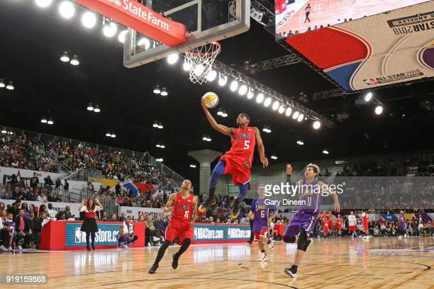 Brandon Armstrong drives to the basket during the NBA AllStar Celebrity Game presented by Ruffles as a part of 2018 NBA AllStar Weekend at the Los...