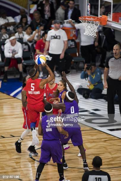 Brandon Armstrong of Team Clippers goes for a lay up during the 2018 NBA AllStar Celebrity Game as part of AllStar Weekend at the Los Angeles...