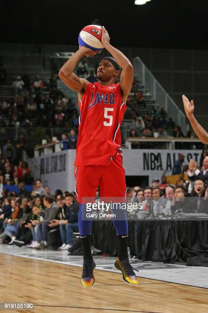 Brandon Armstrong shoots the ball during the NBA AllStar Celebrity Game presented by Ruffles as a part of 2018 NBA AllStar Weekend at the Los Angeles...