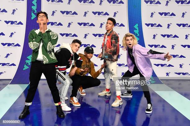 Brandon Arreaga Nick Mara Zion Kuwonu Edwin Honoret and Austin Porter of PrettyMuch attend the 2017 MTV Video Music Awards at The Forum on August 27...