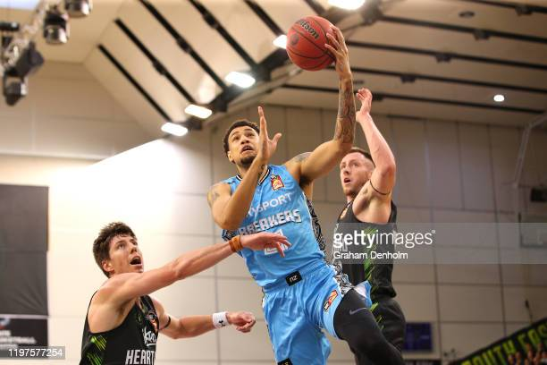 Brandon Ashley of the Breakers in action during the round 14 NBL match between the South East Melbourne Phoenix and the New Zealand Breakers at the...