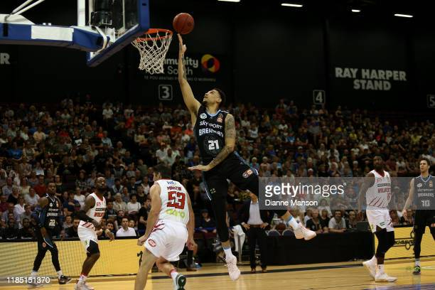 Brandon Ashley of the Breakers shoots during the round five NBL match between the New Zealand Breakers and the Perth Wildcats at ILT Stadium on...