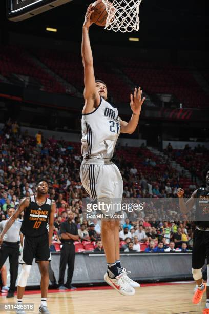 Brandon Ashley of the Dallas Mavericks goes to the basket against the Phoenix Suns during the 2017 Summer League on July 9 2017 at the Thomas Mack...