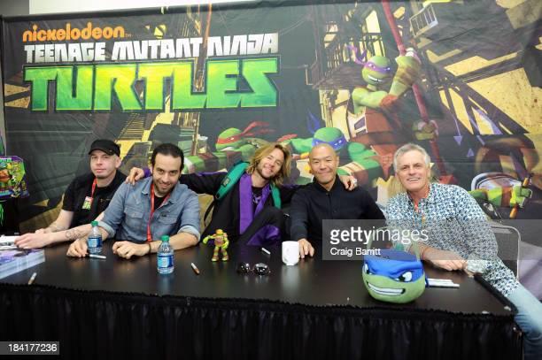 Brandon Auman Ciro Nieli Greg Cipes Hoon Lee and Rob Paulsen at the 2013 New York Comic Con with Nickelodeon's Teenage Mutant Ninja Turtles at the...