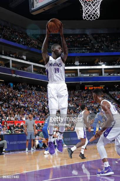 Brandon Austin of the Sacramento Kings gets the rebound against the Golden State Warriors on July 3 2018 at Golden 1 Center in Sacramento California...