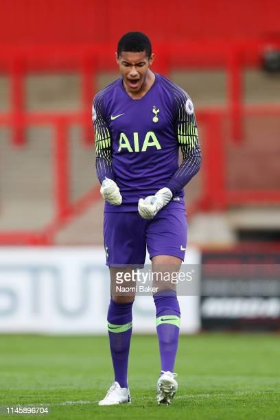 Brandon Austin of Tottenham Hotspur celebrates after his team score their first goal during the Premier League 2 match between Tottenham Hotspur and...