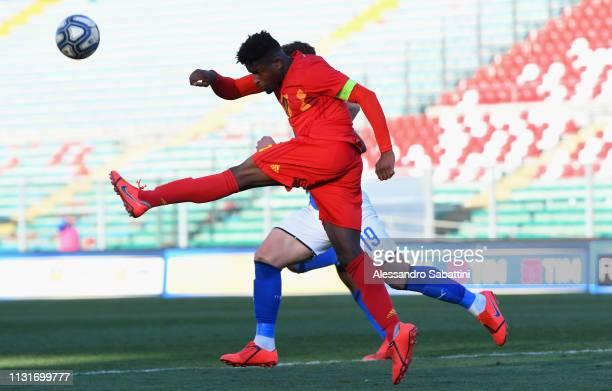 Brandon Baiye of Belgium U19 in action during the UEFA Elite Round match between Italy U19 and Belgium U19 at Stadio Euganeo on March 20 2019 in...