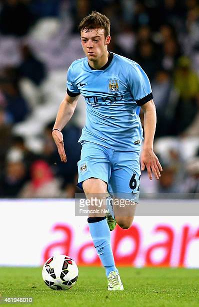 Brandon Barker of Manchester City in action during the friendly match between Hamburg SV and Manchester City at Hazza bin Zayed Stadium on January 21...