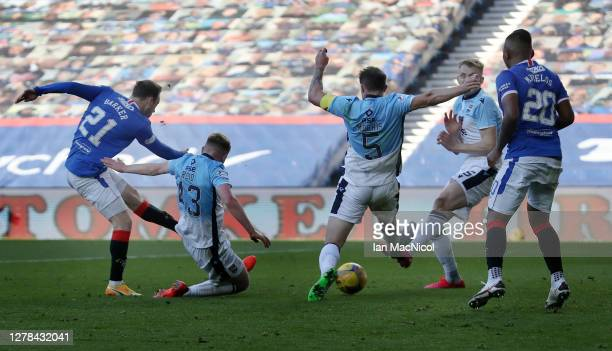 Brandon Barker of Rangers scores his team's second goal during the Ladbrokes Scottish Premiership match between Rangers and Ross County at Ibrox...