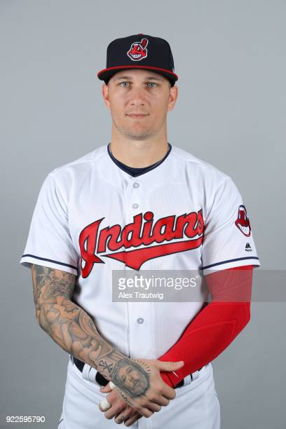 Brandon Barnes of the Cleveland Indians poses during Photo Day on Wednesday February 21 2018 at Goodyear Ballpark in Goodyear Arizona
