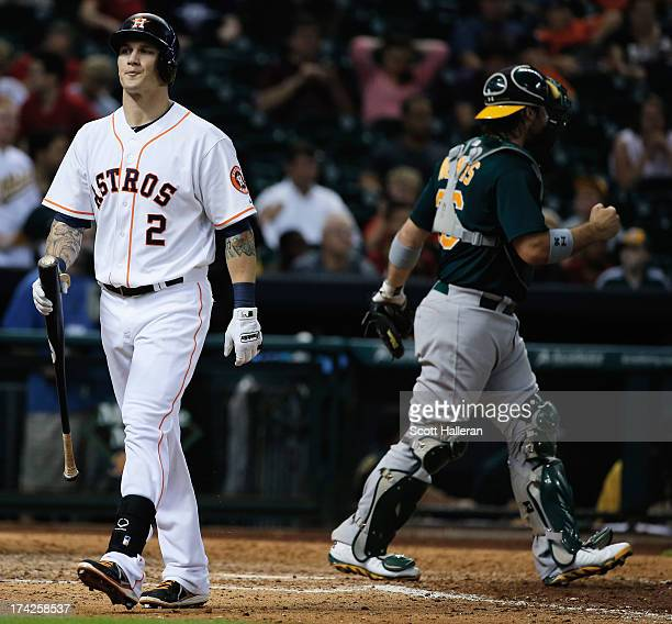 Brandon Barnes of the Houston Astros strikes out to end the game with the Astros losing 43 to the Oakland Athletics at Minute Maid Park on July 22...