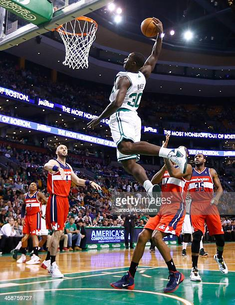 Brandon Bass of the Boston Celtics attempts an alleyoop in the first quarter against the Washington Wizardsduring the game at TD Garden on December...