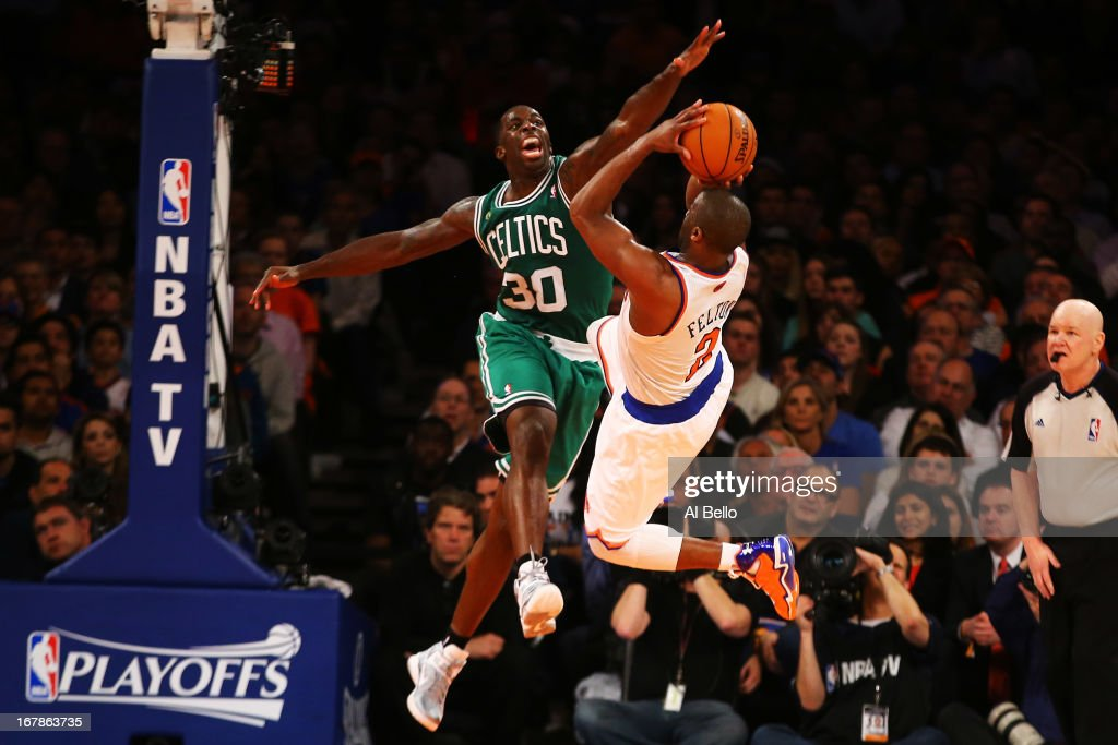 Brandon Bass #30 of the Boston Celtics defends against Raymond Felton #2 of the New York Knicks during Game five of the Eastern Conference Quarterfinals of the 2013 NBA Playoffs at Madison Square Garden on May 1, 2013 in New York City.