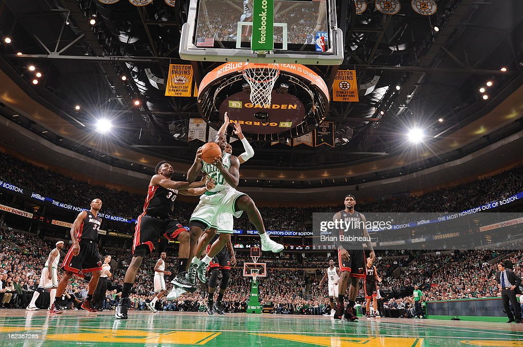 Brandon Bass #30 of the Boston Celtics drives to the basket against the Miami Heat on January 27, 2013 at the TD Garden in Boston, Massachusetts.