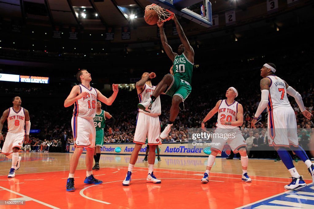 Brandon Bass #30 of the Boston Celtics dunks the ball against the New York Knicks at Madison Square Garden on April 17, 2012 in New York City.