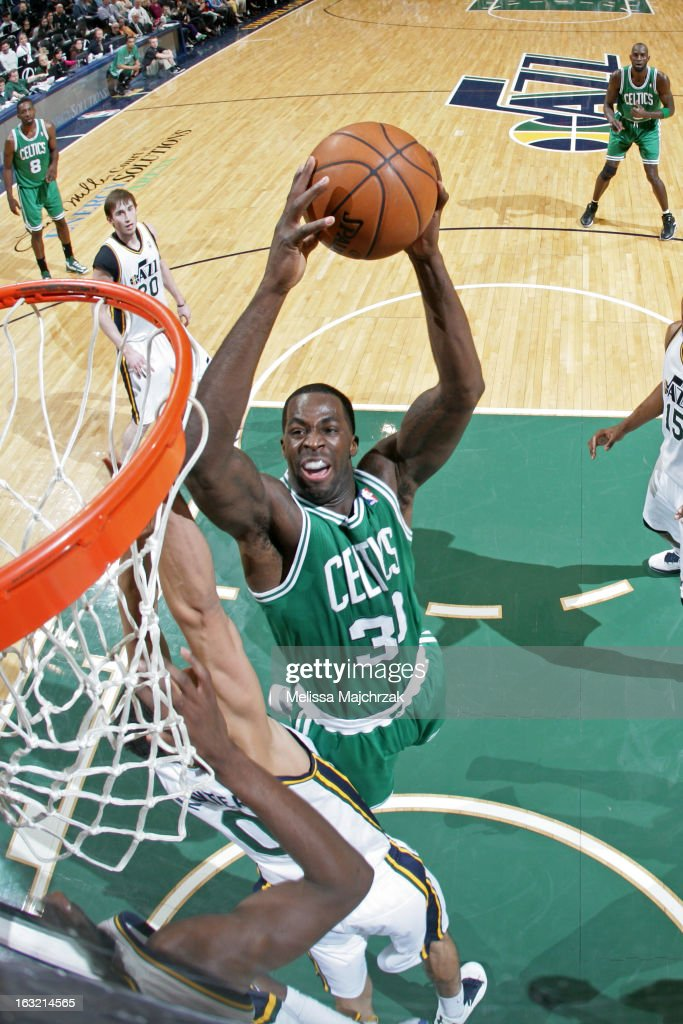 Brandon Bass #30 of the Boston Celtics dunks the ball against the Utah Jazz at Energy Solutions Arena on February 25, 2013 in Salt Lake City, Utah.