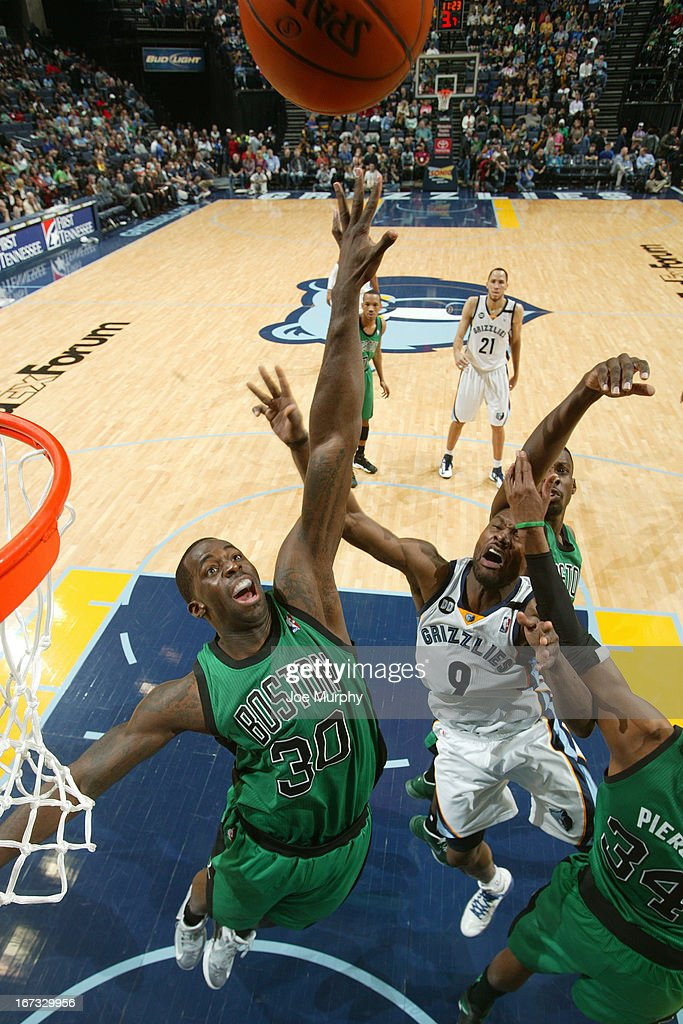 Brandon Bass #30 of the Boston Celtics goes up for a rebound against the Memphis Grizzlies on March 23, 2013 at FedExForum in Memphis, Tennessee.