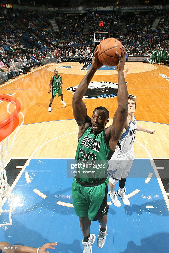 Brandon Bass #30 of the Boston Celtics goes up for the dunk against the Minnesota Timberwolves during the game on April 1, 2013 at Target Center in Minneapolis, Minnesota.