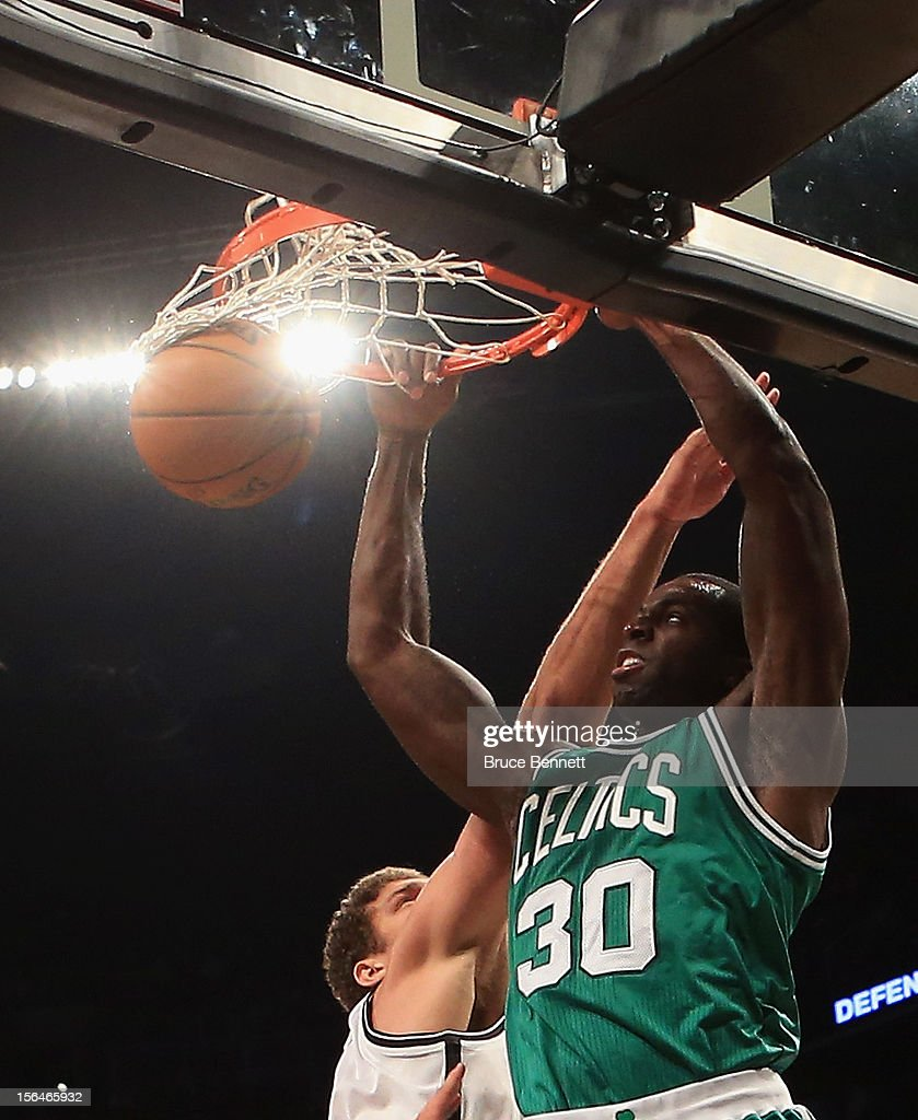 Brandon Bass #30 of the Boston Celtics scores two late in the second quarter at the Barclays Center on November 15, 2012 in the Brooklyn borough of New York City.