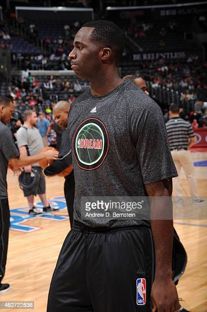 Brandon Bass of the Boston Celtics warms up before a game against the Los Angeles Clippers at STAPLES Center on January 19 2015 in Los Angeles...
