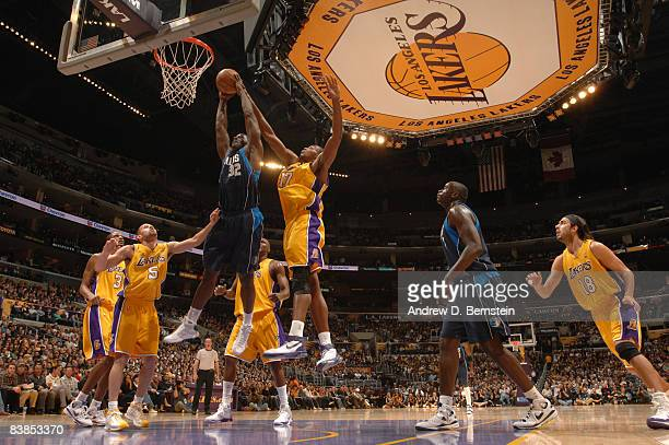 Brandon Bass of the Dallas Mavericks goes up for a shot against Andrew Bynum of the Los Angeles Lakers at Staples Center on November 28 2008 in Los...