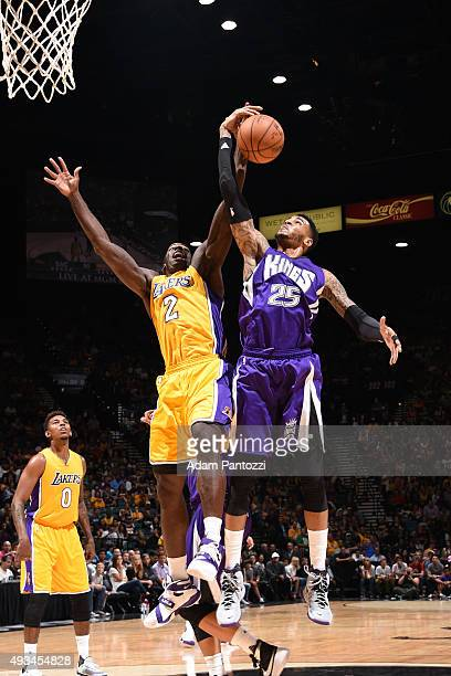 Brandon Bass of the Los Angeles Lakers and Eric Moreland of the Sacramento Kings go up for a rebound during a preseason game at MGM Grand Garden...