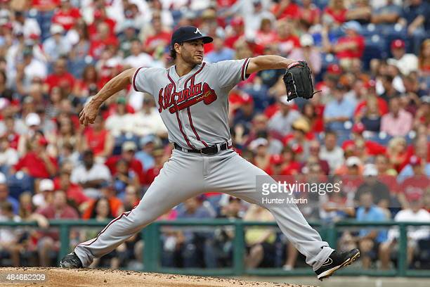 Brandon Beachy of the Atlanta Braves during a game against the Philadelphia Phillies at Citizens Bank Park on August 3 2013 in Philadelphia...