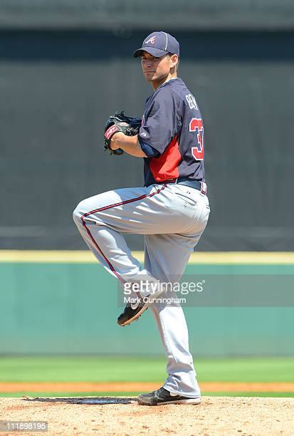 Brandon Beachy of the Atlanta Braves pitches against the Detroit Tigers during the spring training game at Joker Marchant Stadium on March 19 2011 in...