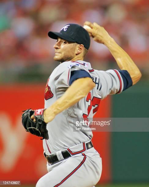 Brandon Beachy of the Atlanta Braves pitches against the Philadelphia Phillies at Citizens Bank Park on September 7 2011 in Philadelphia Pennsylvania...
