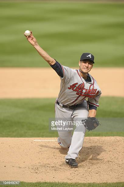 Brandon Beachy of the Atlanta Braves pitches during a baseball game against the Washington Nationals on September 26 2010 at Nationals Park in...