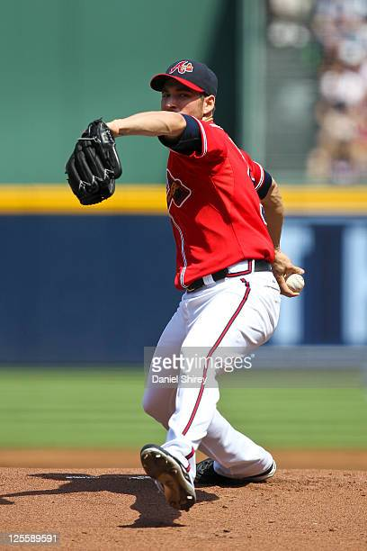 Brandon Beachy of the Atlanta Braves pitches in the first inning of the game against the New York Mets at Turner Field on September 18 2011 in...