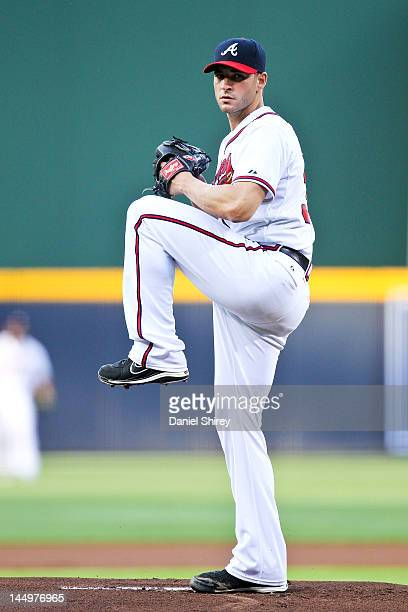 Brandon Beachy of the Atlanta Braves pitches in the game against the Philadelphia Phillies on May 1 2012 at Turner Field in Atlanta Georgia The...
