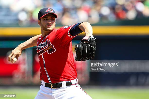 Brandon Beachy of the Atlanta Braves pitches in the second inning of the game against the New York Mets at Turner Field on September 18 2011 in...