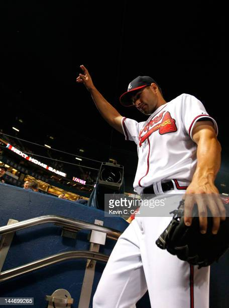 Brandon Beachy of the Atlanta Braves reacts after pitching a completegame shutout to give the Braves a 70 win over the Miami Marlins at Turner Field...