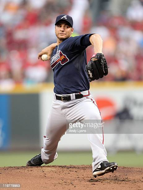 Brandon Beachy of the Atlanta Braves throws a pitch during the game against the Cincinnati Reds at Great American Ball Park at Great American Ball...