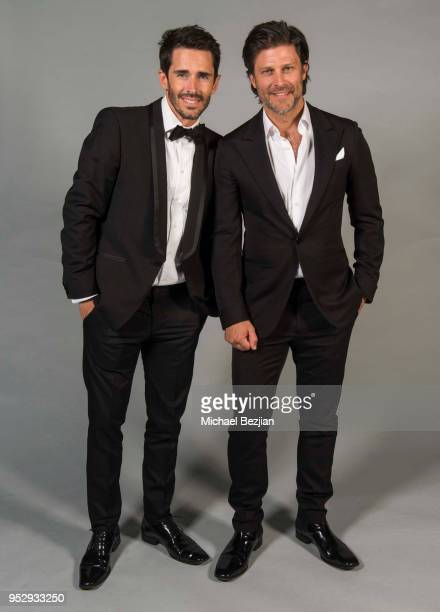 Brandon Beemer and Greg Vaughan pose with TAP medallion at 45th Daytime Emmy Awards Portraits by The Artists Project Sponsored by the Visual Snow...