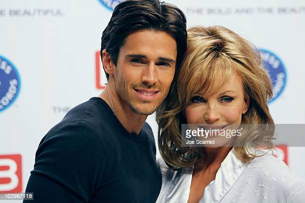 Brandon Beemer and LesleyAnne Down attend the Guinness World Record's Official Validation For The Bold The Beautifulat CBS Studios on May 18 2010 in...
